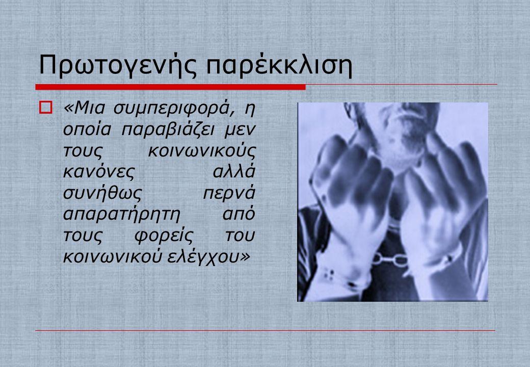 ΣΧΟΛΗ ΤΗΣ ΣΥΜΒΟΛΙΚΗΣ ΑΛΛΗΛΕΠΙΔΡΑΣΗΣ  Πρωτογενής παρέκκλιση  Δευτερογενής παρέκκλιση  Θεωρία της ετικέτας – η έννοια του χαρακτηρισμού