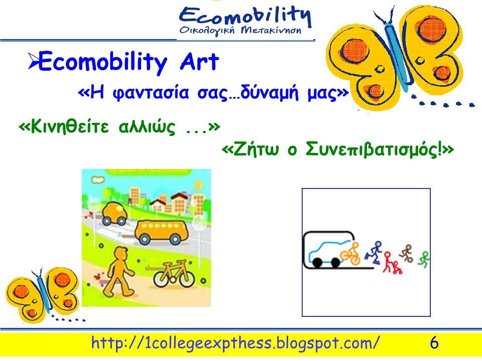 http://1collegeexpthess.blogspot.com/6  Εcomobility Art «Η φαντασία σας…δύναμή μας» «Κινηθείτε αλλιώς...» «Ζήτω ο Συνεπιβατισμός!»