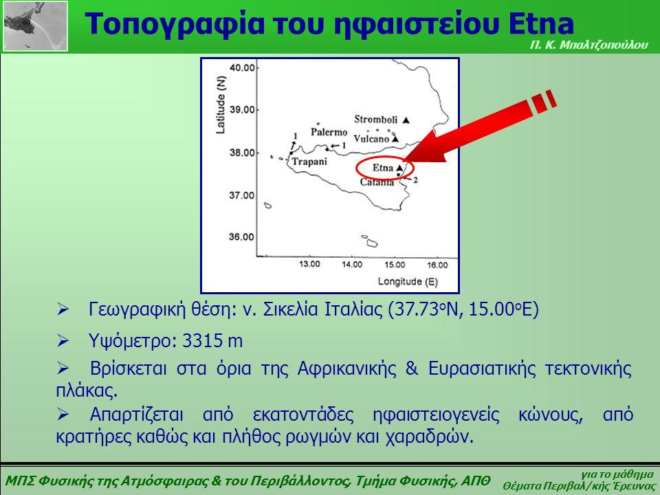 ΜΠΣ Φυσικής της Ατμόσφαιρας & του Περιβάλλοντος, Τμήμα Φυσικής, ΑΠΘ για το μάθημα Θέματα Περιβαλ/κής Έρευνας Π. Κ. Μπαλτζοπούλου Τοπογραφία του ηφαιστ