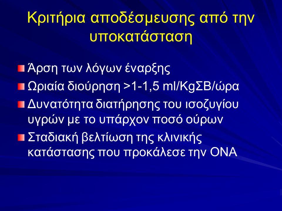 Κριτήρια αποδέσμευσης από την υποκατάσταση Άρση των λόγων έναρξης Ωριαία διούρηση >1-1,5 ml/KgΣΒ/ώρα Δυνατότητα διατήρησης του ισοζυγίου υγρών με το υ