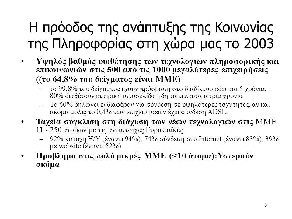 6 Η πρόοδος του ΕΠ ΚτΠ το 2003: Το 2003 ήταν μια καλή και παραγωγική χρονιά Το 2003 το πρόγραμμα μπήκε σε τροχιά επιτάχυνσης- χρονιά των πολλών εντάξεων και προκηρύξεων –Καλύφθηκε πρόσθετη απόσταση μεγαλύτερη με αυτή που είχαμε διανύσει τα δύο πρώτα χρόνια εφαρμογής του Προγράμματος με όρους εντάξεων και δαπανών –Ο ρυθμός υλοποίησης του Προγράμματος για την Κοινωνία της Πληροφορίας το 2003 σε σύγκριση με το σύνολο του Γ ΚΠΣ ήταν κατά τέσσερις φορές μεγαλύτερος με όρους ενταγμένων έργων, τρεις φορές μεγαλύτερος με όρους δαπανών και περίπου ίσος με όρους συμβάσεων.