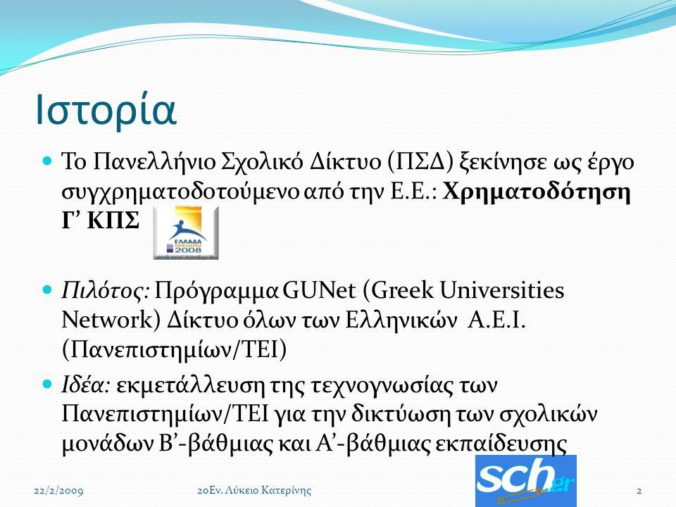 Ιστορία Το Πανελλήνιο Σχολικό Δίκτυο (ΠΣΔ) ξεκίνησε ως έργο συγχρηματοδοτούμενο από την Ε.Ε.: Χρηματοδότηση Γ' ΚΠΣ Πιλότος: Πρόγραμμα GUNet (Greek Universities Network) Δίκτυο όλων των Ελληνικών Α.Ε.Ι.