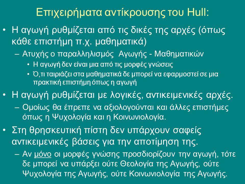 Επιχειρήματα αντίκρουσης του Hull: Η αγωγή ρυθμίζεται από τις δικές της αρχές (όπως κάθε επιστήμη π.χ.