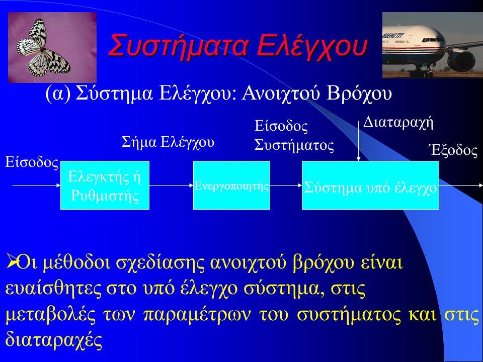 Συστήματα Ελέγχου (α) Σύστημα Ελέγχου: Ανοιχτού Βρόχου Σύστημα υπό έλεγχο Ελεγκτής ή Ρυθμιστής Είσοδος Σήμα Ελέγχου Διαταραχή Έξοδος Ενεργοποιητής Είσοδος Συστήματος  Οι μέθοδοι σχεδίασης ανοιχτού βρόχου είναι ευαίσθητες στο υπό έλεγχο σύστημα, στις μεταβολές των παραμέτρων του συστήματος και στις διαταραχές