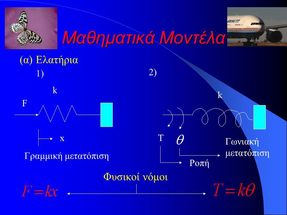 Μαθηματικά Μοντέλα (α) Ελατήρια k x F Γραμμική μετατόπιση 1)1) 2)2) k T Ροπή Γωνιακή μετατόπιση Φυσικοί νόμοι