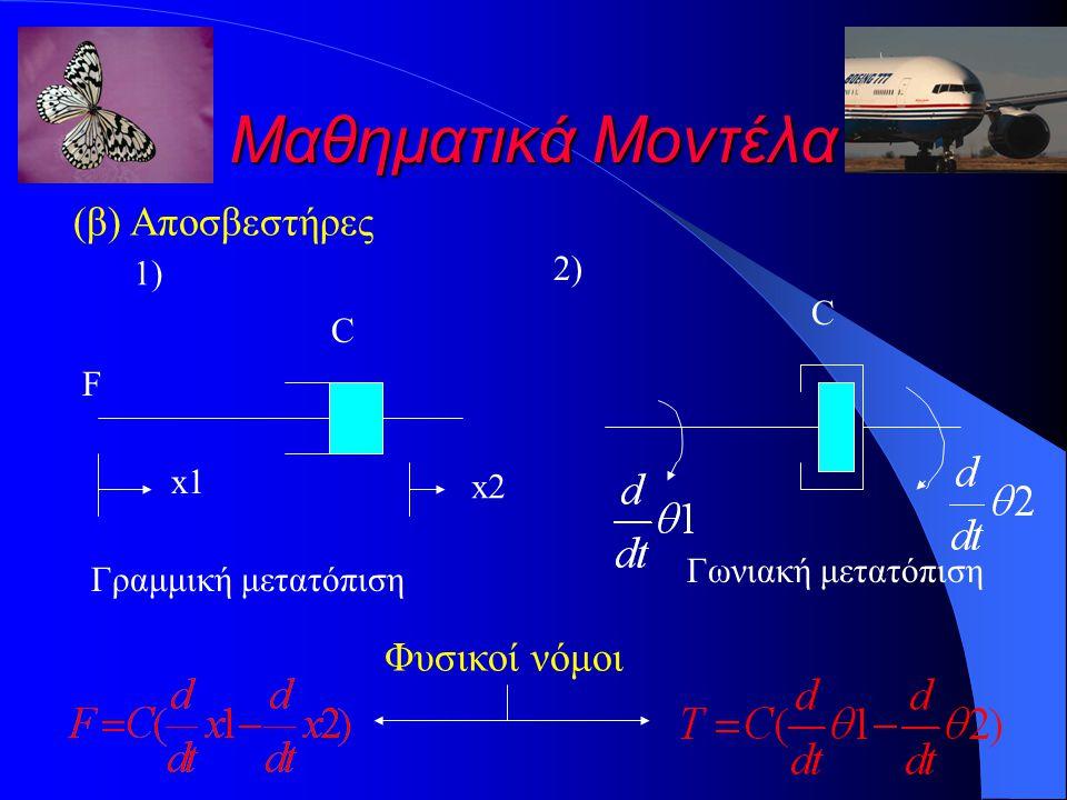 Μαθηματικά Μοντέλα (β) Αποσβεστήρες C x1 F Γραμμική μετατόπιση 1)1) 2)2) C Γωνιακή μετατόπιση Φυσικοί νόμοι x2