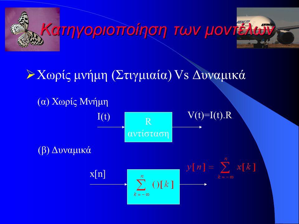 Κατηγοριοποίηση των μοντέλων  Χωρίς μνήμη (Στιγμιαία) Vs Δυναμικά (α) Χωρίς Μνήμη R αντίσταση I(t) V(t)=I(t).R (β) Δυναμικά x[n]