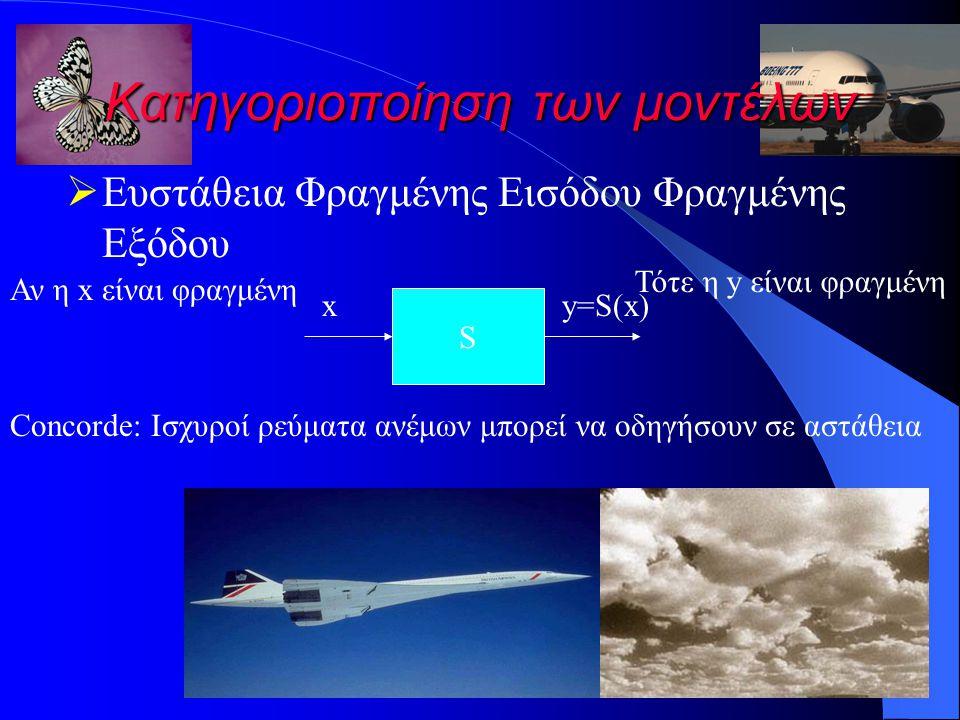 Κατηγοριοποίηση των μοντέλων  Ευστάθεια Φραγμένης Εισόδου Φραγμένης Εξόδου S xy=S(x) Αν η x είναι φραγμένη Τότε η y είναι φραγμένη Concorde: Ισχυροί ρεύματα ανέμων μπορεί να οδηγήσουν σε αστάθεια