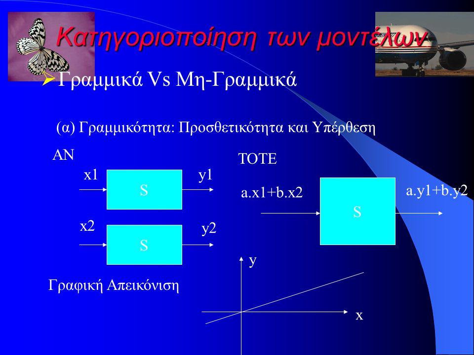 Κατηγοριοποίηση των μοντέλων  Γραμμικά Vs Μη-Γραμμικά S x1 (α) Γραμμικότητα: Προσθετικότητα και Υπέρθεση ΑΝ S x2 y1 y2 ΤΟΤΕ S a.x1+b.x2 a.y1+b.y2 x y Γραφική Απεικόνιση