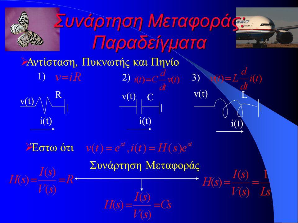 Συνάρτηση Μεταφοράς: Παραδείγματα  Αντίσταση, Πυκνωτής και Πηνίο 1)1) 2)2) v(t) i(t) R v(t) C i(t) v(t) L i(t) 3)3)  Έστω ότι Συνάρτηση Μεταφοράς