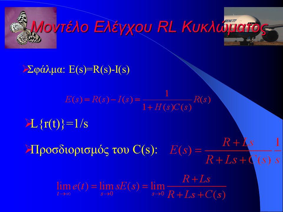 Μοντέλο Ελέγχου RL Κυκλώματος  Σφάλμα: E(s)=R(s)-I(s)  L{r(t)}=1/s  Προσδιορισμός του C(s):