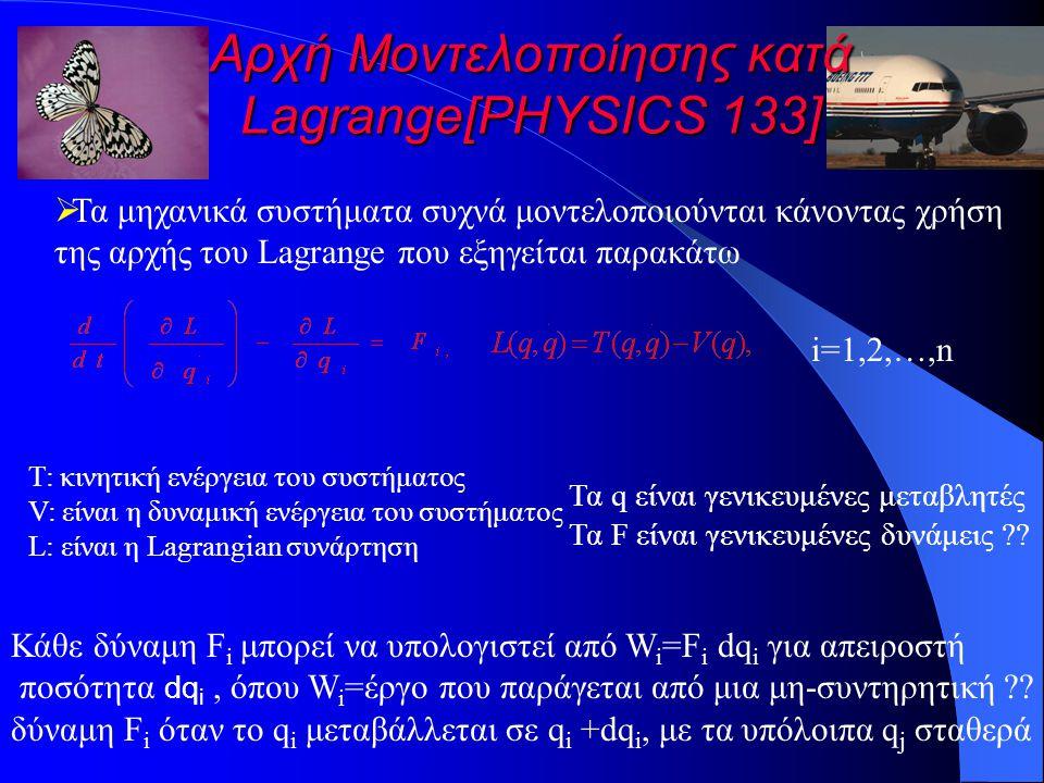Αρχή Μοντελοποίησης κατά Lagrange[PHYSICS 133]  Τα μηχανικά συστήματα συχνά μοντελοποιούνται κάνοντας χρήση της αρχής του Lagrange που εξηγείται παρακάτω i=1,2,…,n T: κινητική ενέργεια του συστήματος V: είναι η δυναμική ενέργεια του συστήματος L: είναι η Lagrangian συνάρτηση Τα q είναι γενικευμένες μεταβλητές Τα F είναι γενικευμένες δυνάμεις ?.