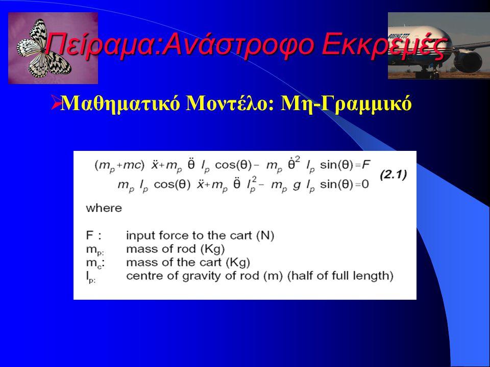 Πείραμα:Ανάστροφο Εκκρεμές  Μαθηματικό Μοντέλο: Μη-Γραμμικό