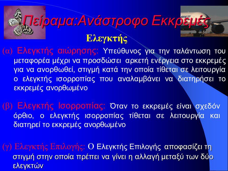 Πείραμα:Ανάστροφο Εκκρεμές Ελεγκτής (α) Ελεγκτής αιώρησης: Υπεύθυνος για την ταλάντωση του μεταφορέα μέχρι να προσδώσει αρκετή ενέργεια στο εκκρεμές για να ανορθωθεί, στιγμή κατά την οποία τίθεται σε λειτουργία ο ελεγκτής ισορροπίας που αναλαμβάνει να διατηρήσει το εκκρεμές ανορθωμένο (β) Ελεγκτής Ισορροπίας: Όταν το εκκρεμές είναι σχεδόν όρθιο, ο ελεγκτής ισορροπίας τίθεται σε λειτουργία και διατηρεί το εκκρεμές ανορθωμένο αποφασίζει τη (γ) Ελεγκτής Επιλογής: Ο Ελεγκτής Επιλογής αποφασίζει τη στιγμή στην οποία πρέπει να γίνει η αλλαγή μεταξύ των δύο στιγμή στην οποία πρέπει να γίνει η αλλαγή μεταξύ των δύο ελεγκτών ελεγκτών