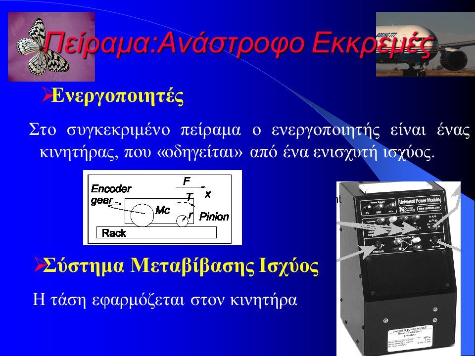 Πείραμα:Ανάστροφο Εκκρεμές  Ενεργοποιητές Στο συγκεκριμένο πείραμα ο ενεργοποιητής είναι ένας κινητήρας, που «οδηγείται» από ένα ενισχυτή ισχύος.