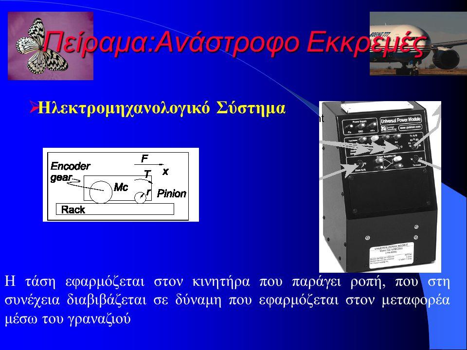 Πείραμα:Ανάστροφο Εκκρεμές  Ηλεκτρομηχανολογικό Σύστημα Η τάση εφαρμόζεται στον κινητήρα που παράγει ροπή, που στη συνέχεια διαβιβάζεται σε δύναμη που εφαρμόζεται στον μεταφορέα μέσω του γραναζιού