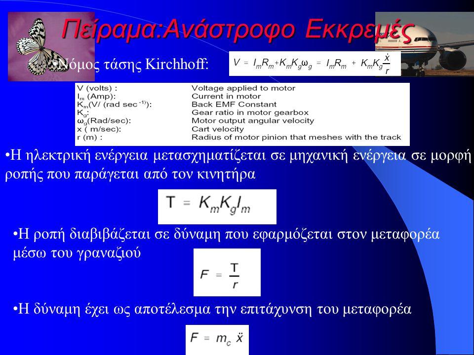 Πείραμα:Ανάστροφο Εκκρεμές Η ηλεκτρική ενέργεια μετασχηματίζεται σε μηχανική ενέργεια σε μορφή ροπής που παράγεται από τον κινητήρα Η ροπή διαβιβάζεται σε δύναμη που εφαρμόζεται στον μεταφορέα μέσω του γραναζιού Η δύναμη έχει ως αποτέλεσμα την επιτάχυνση του μεταφορέα Νόμος τάσης Kirchhoff: