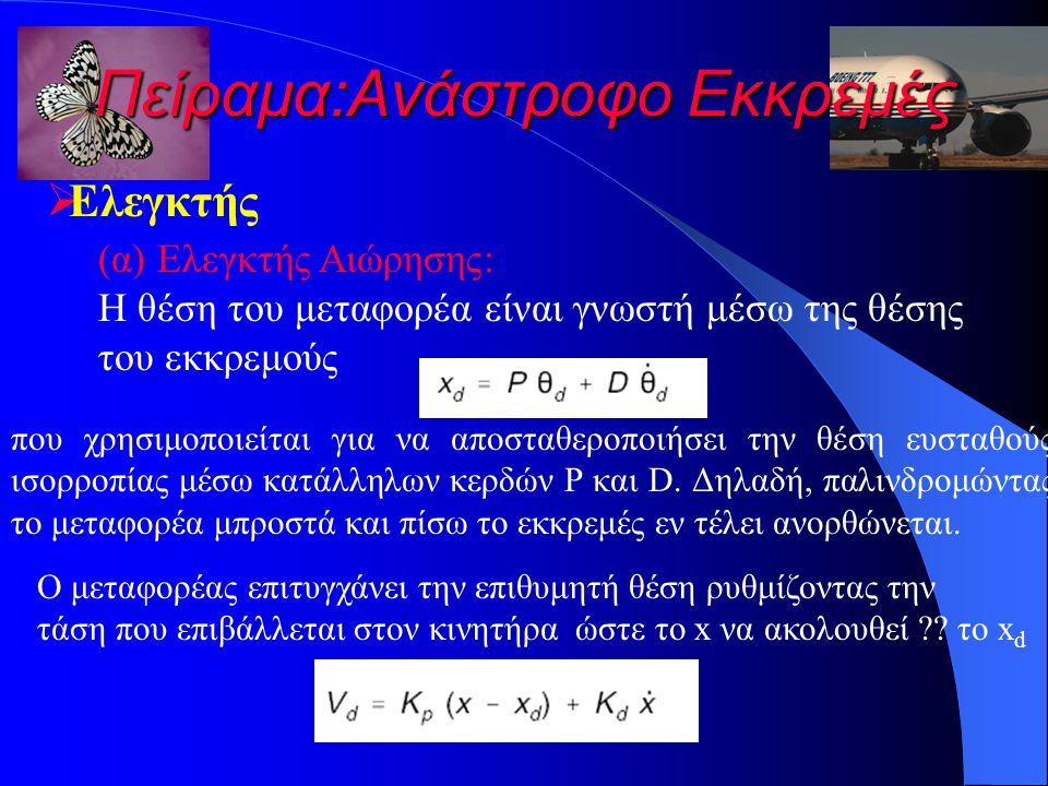 Πείραμα:Ανάστροφο Εκκρεμές  Ελεγκτής (α) Ελεγκτής Αιώρησης: Η θέση του μεταφορέα είναι γνωστή μέσω της θέσης του εκκρεμούς που χρησιμοποιείται για να αποσταθεροποιήσει την θέση ευσταθούς ισορροπίας μέσω κατάλληλων κερδών P και D.