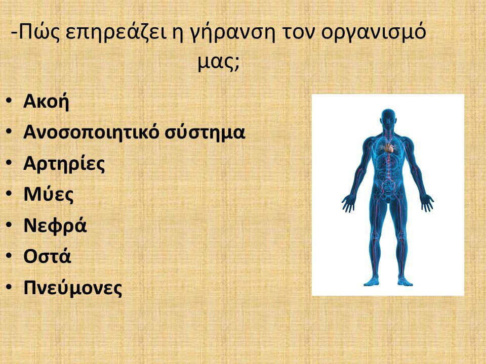 -Πώς επηρεάζει η γήρανση τον οργανισμό μας; Ακοή Ανοσοποιητικό σύστημα Αρτηρίες Μύες Νεφρά Οστά Πνεύμονες