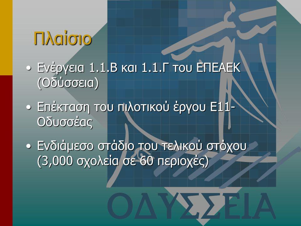 Πλαίσιο Ενέργεια 1.1.Β και 1.1.Γ του ΕΠΕΑΕΚ (Οδύσσεια)Ενέργεια 1.1.Β και 1.1.Γ του ΕΠΕΑΕΚ (Οδύσσεια) Επέκταση του πιλοτικού έργου Ε11- ΟδυσσέαςΕπέκταση του πιλοτικού έργου Ε11- Οδυσσέας Ενδιάμεσο στάδιο του τελικού στόχου (3,000 σχολεία σε 60 περιοχές)Ενδιάμεσο στάδιο του τελικού στόχου (3,000 σχολεία σε 60 περιοχές)