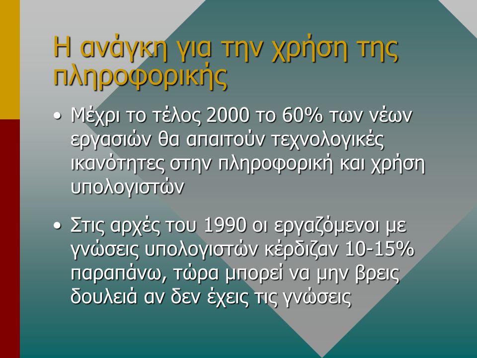 Η ανάγκη για την χρήση της πληροφορικής Μέχρι το τέλος 2000 το 60% των νέων εργασιών θα απαιτούν τεχνολογικές ικανότητες στην πληροφορική και χρήση υπολογιστώνΜέχρι το τέλος 2000 το 60% των νέων εργασιών θα απαιτούν τεχνολογικές ικανότητες στην πληροφορική και χρήση υπολογιστών Στις αρχές του 1990 οι εργαζόμενοι με γνώσεις υπολογιστών κέρδιζαν 10-15% παραπάνω, τώρα μπορεί να μην βρεις δουλειά αν δεν έχεις τις γνώσειςΣτις αρχές του 1990 οι εργαζόμενοι με γνώσεις υπολογιστών κέρδιζαν 10-15% παραπάνω, τώρα μπορεί να μην βρεις δουλειά αν δεν έχεις τις γνώσεις