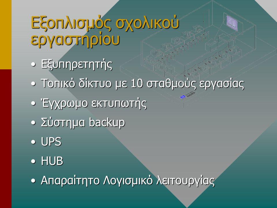 Εξοπλισμός σχολικού εργαστηρίου ΕξυπηρετητήςΕξυπηρετητής Τοπικό δίκτυο με 10 σταθμούς εργασίαςΤοπικό δίκτυο με 10 σταθμούς εργασίας Έγχρωμο εκτυπωτήςΈγχρωμο εκτυπωτής Σύστημα backupΣύστημα backup UPSUPS HUBHUB Απαραίτητο Λογισμικό λειτουργίαςΑπαραίτητο Λογισμικό λειτουργίας