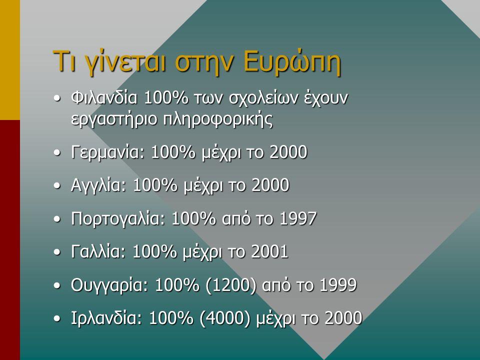 Τι γίνεται στην Ευρώπη Φιλανδία 100% των σχολείων έχουν εργαστήριο πληροφορικήςΦιλανδία 100% των σχολείων έχουν εργαστήριο πληροφορικής Γερμανία: 100% μέχρι το 2000Γερμανία: 100% μέχρι το 2000 Αγγλία: 100% μέχρι το 2000Αγγλία: 100% μέχρι το 2000 Πορτογαλία: 100% από το 1997Πορτογαλία: 100% από το 1997 Γαλλία: 100% μέχρι το 2001Γαλλία: 100% μέχρι το 2001 Ουγγαρία: 100% (1200) από το 1999Ουγγαρία: 100% (1200) από το 1999 Ιρλανδία: 100% (4000) μέχρι το 2000Ιρλανδία: 100% (4000) μέχρι το 2000