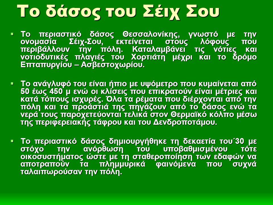 Το δάσος του Σέιχ Σου  Το περιαστικό δάσος Θεσσαλονίκης, γνωστό με την ονομασία Σέιχ-Σου, εκτείνεται στους λόφους που περιβάλλουν την πόλη. Καταλαμβά