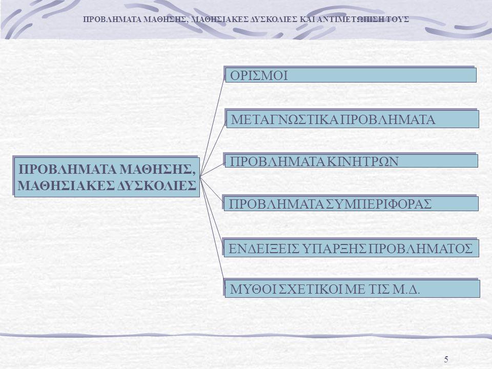 6 ΜΑΘΗΣΙΑΚΕΣ ΔΥΣΚΟΛΙΕΣ ΕΙΝΑΙ: ανομοιογενής ομάδα εγγενών διαταραχών του κεντρικού νευρικού συστήματος.