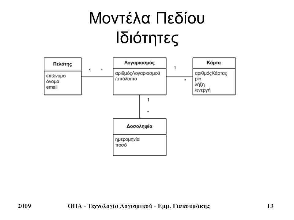 2009ΟΠΑ - Τεχνολογία Λογισμικού - Εμμ. Γιακουμάκης 13 Μοντέλα Πεδίου Ιδιότητες