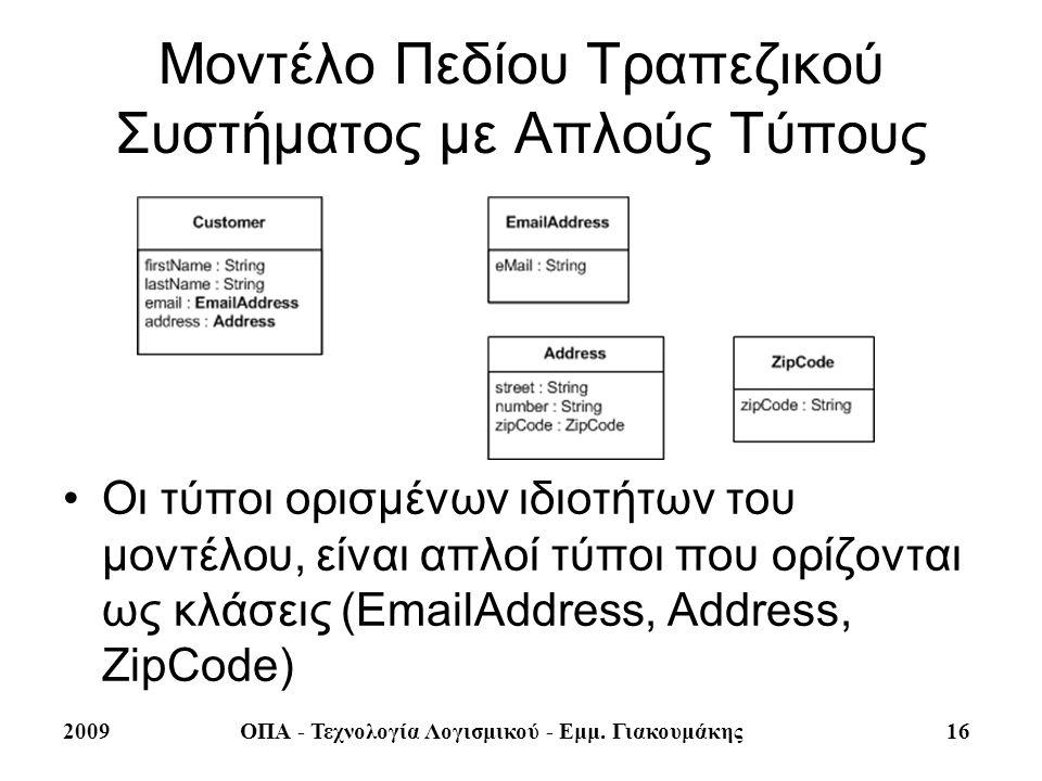2009ΟΠΑ - Τεχνολογία Λογισμικού - Εμμ. Γιακουμάκης 16 Μοντέλο Πεδίου Τραπεζικού Συστήματος με Απλούς Τύπους Οι τύποι ορισμένων ιδιοτήτων του μοντέλου,