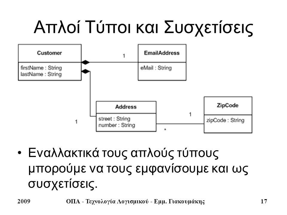 2009ΟΠΑ - Τεχνολογία Λογισμικού - Εμμ. Γιακουμάκης 17 Απλοί Τύποι και Συσχετίσεις Εναλλακτικά τους απλούς τύπους μπορούμε να τους εμφανίσουμε και ως σ
