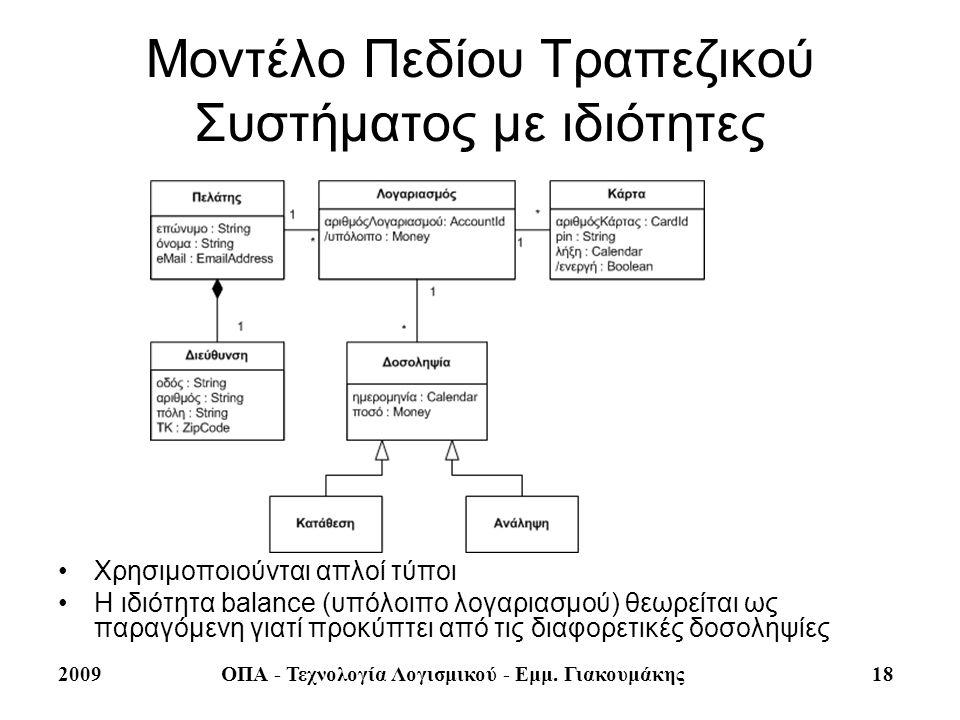 2009ΟΠΑ - Τεχνολογία Λογισμικού - Εμμ. Γιακουμάκης 18 Μοντέλο Πεδίου Τραπεζικού Συστήματος με ιδιότητες Χρησιμοποιούνται απλοί τύποι Η ιδιότητα balanc