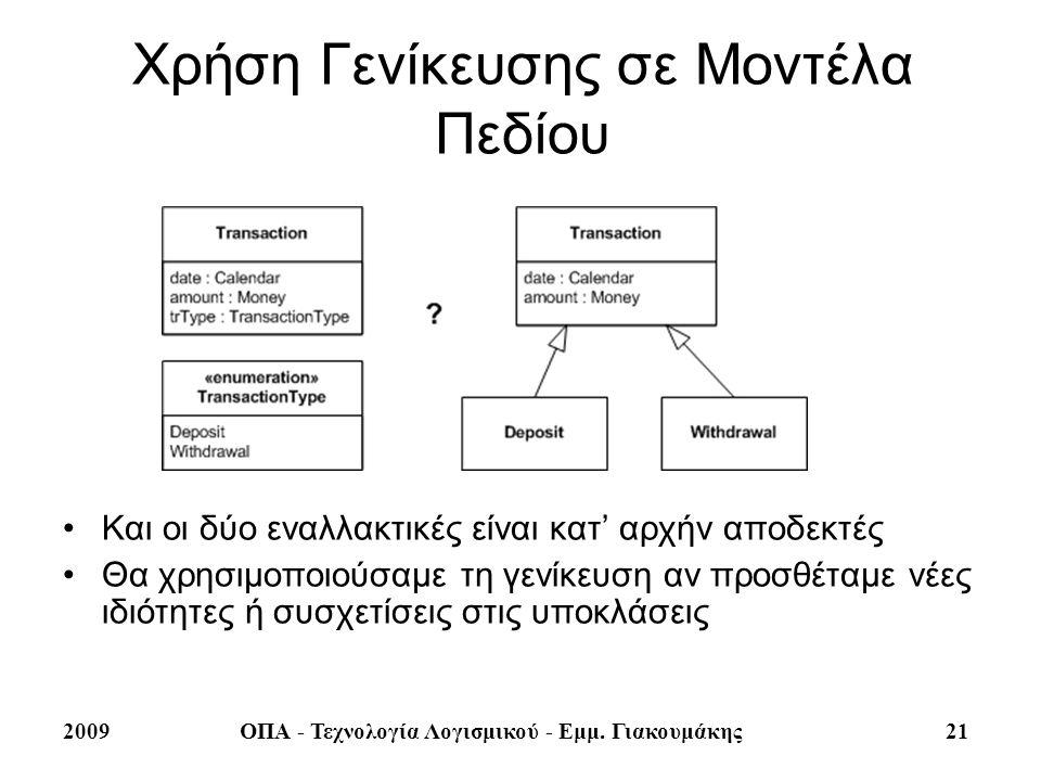2009ΟΠΑ - Τεχνολογία Λογισμικού - Εμμ. Γιακουμάκης 21 Χρήση Γενίκευσης σε Μοντέλα Πεδίου Και οι δύο εναλλακτικές είναι κατ' αρχήν αποδεκτές Θα χρησιμο