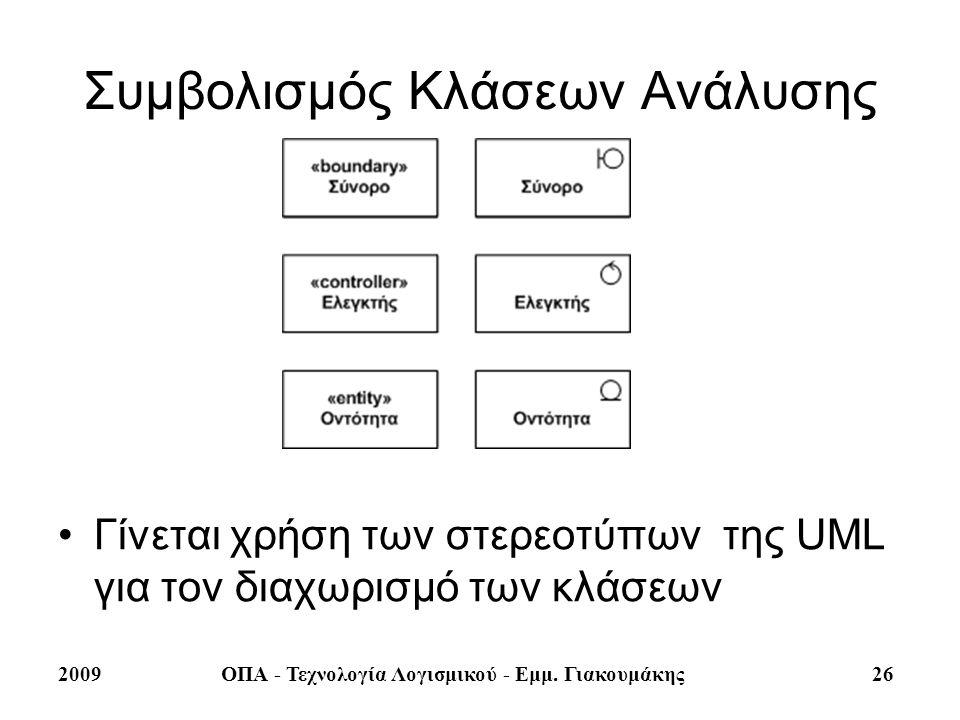 2009ΟΠΑ - Τεχνολογία Λογισμικού - Εμμ. Γιακουμάκης 26 Συμβολισμός Κλάσεων Ανάλυσης Γίνεται χρήση των στερεοτύπων της UML για τον διαχωρισμό των κλάσεω
