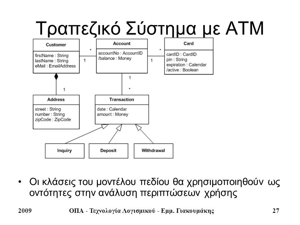 2009ΟΠΑ - Τεχνολογία Λογισμικού - Εμμ. Γιακουμάκης 27 Τραπεζικό Σύστημα με ΑΤΜ Οι κλάσεις του μοντέλου πεδίου θα χρησιμοποιηθούν ως οντότητες στην ανά