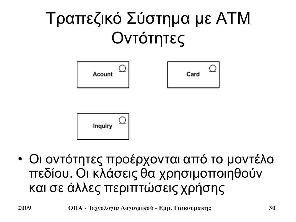 2009ΟΠΑ - Τεχνολογία Λογισμικού - Εμμ. Γιακουμάκης 30 Τραπεζικό Σύστημα με ΑΤΜ Οντότητες Οι οντότητες προέρχονται από το μοντέλο πεδίου. Οι κλάσεις θα