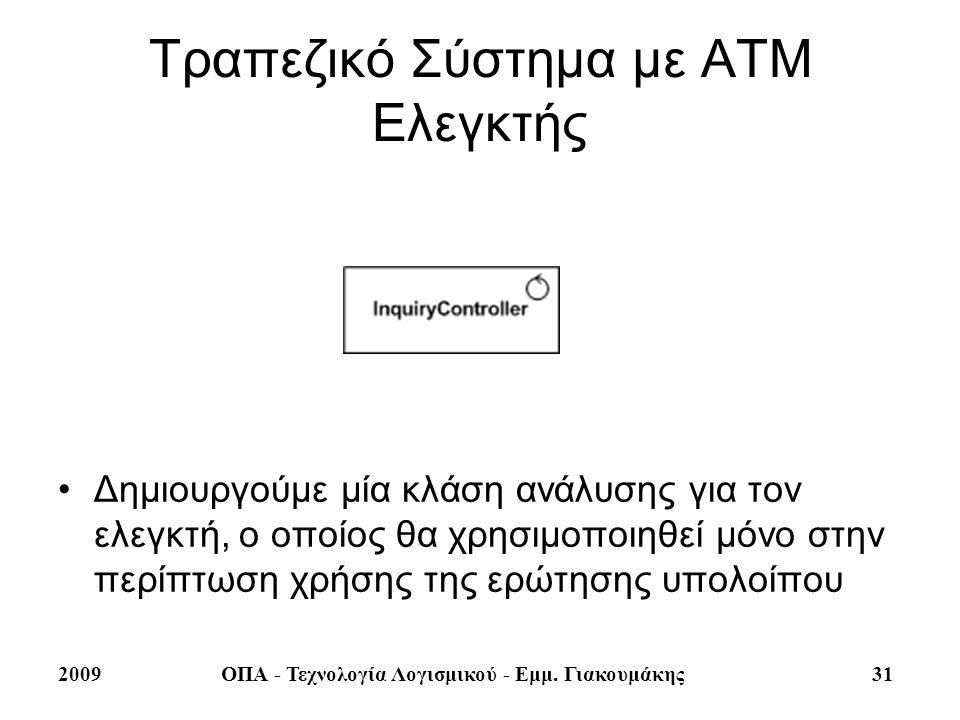 2009ΟΠΑ - Τεχνολογία Λογισμικού - Εμμ. Γιακουμάκης 31 Τραπεζικό Σύστημα με ΑΤΜ Ελεγκτής Δημιουργούμε μία κλάση ανάλυσης για τον ελεγκτή, ο οποίος θα χ
