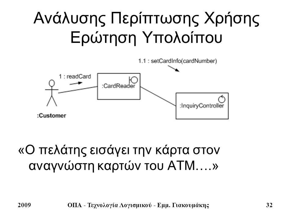 2009ΟΠΑ - Τεχνολογία Λογισμικού - Εμμ. Γιακουμάκης 32 Ανάλυσης Περίπτωσης Χρήσης Ερώτηση Υπολοίπου «Ο πελάτης εισάγει την κάρτα στον αναγνώστη καρτών