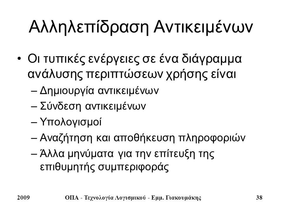 2009ΟΠΑ - Τεχνολογία Λογισμικού - Εμμ. Γιακουμάκης 38 Αλληλεπίδραση Αντικειμένων Οι τυπικές ενέργειες σε ένα διάγραμμα ανάλυσης περιπτώσεων χρήσης είν