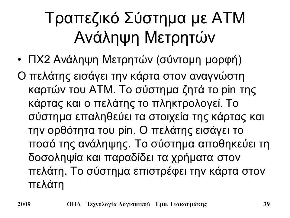 2009ΟΠΑ - Τεχνολογία Λογισμικού - Εμμ. Γιακουμάκης 39 Τραπεζικό Σύστημα με ΑΤΜ Ανάληψη Μετρητών ΠΧ2 Ανάληψη Μετρητών (σύντομη μορφή) Ο πελάτης εισάγει