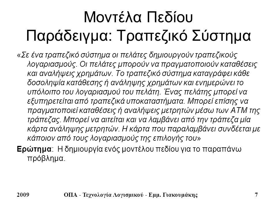 2009ΟΠΑ - Τεχνολογία Λογισμικού - Εμμ. Γιακουμάκης 7 Μοντέλα Πεδίου Παράδειγμα: Τραπεζικό Σύστημα «Σε ένα τραπεζικό σύστημα οι πελάτες δημιουργούν τρα