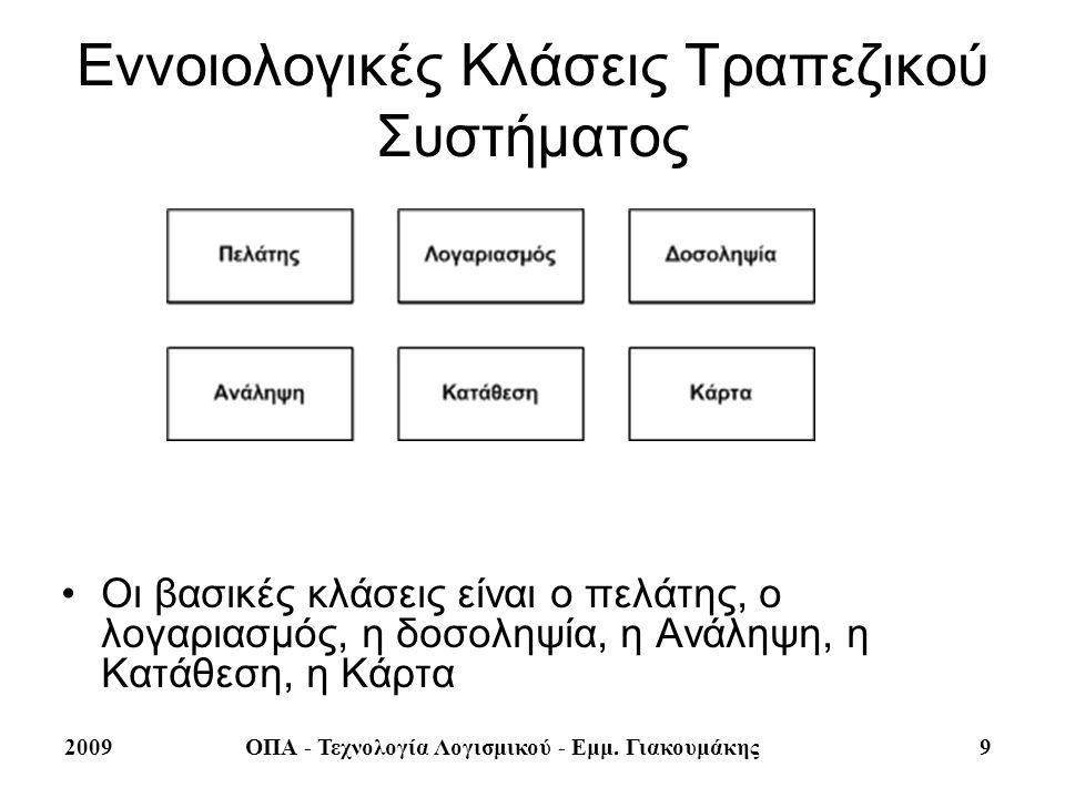 2009ΟΠΑ - Τεχνολογία Λογισμικού - Εμμ. Γιακουμάκης 9 Εννοιολογικές Κλάσεις Τραπεζικού Συστήματος Οι βασικές κλάσεις είναι ο πελάτης, ο λογαριασμός, η