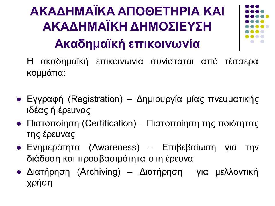 ΑΚΑΔΗΜΑΪΚΑ ΑΠΟΘΕΤΗΡΙΑ ΚΑΙ ΑΚΑΔΗΜΑΪΚΗ ΔΗΜΟΣΙΕΥΣΗ Ακαδημαϊκή επικοινωνία Η ακαδημαϊκή επικοινωνία συνίσταται από τέσσερα κομμάτια: Εγγραφή (Registration) – Δημιουργία μίας πνευματικής ιδέας ή έρευνας Πιστοποίηση (Certification) – Πιστοποίηση της ποιότητας της έρευνας Ενημερότητα (Awareness) – Επιβεβαίωση για την διάδοση και προσβασιμότητα στη έρευνα Διατήρηση (Archiving) – Διατήρηση για μελλοντική χρήση