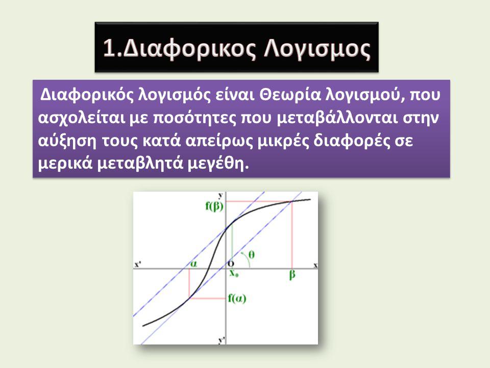 Διαφορικός λογισμός είναι Θεωρία λογισμού, που ασχολείται με ποσότητες που μεταβάλλονται στην αύξηση τους κατά απείρως μικρές διαφορές σε μερικά μεταβ