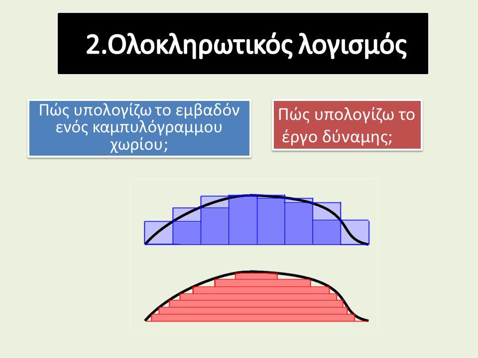 Πώς υπολογίζω το εμβαδόν ενός καμπυλόγραμμου χωρίου; Πώς υπολογίζω το έργο δύναμης; Πώς υπολογίζω το έργο δύναμης;