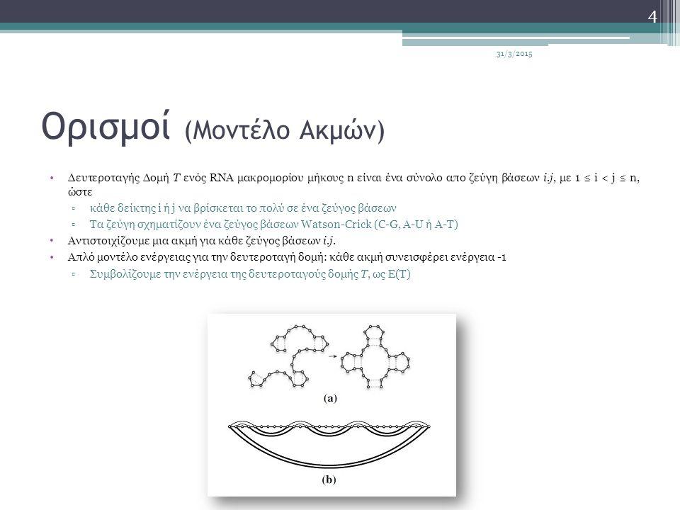 Ορισμοί (Μοντέλο Ακμών) Δευτεροταγής Δομή T ενός RNA μακρομορίου μήκους n είναι ένα σύνολο απο ζεύγη βάσεων i.j, με 1 ≤ i < j ≤ n, ώστε ▫κάθε δείκτης i ή j να βρίσκεται το πολύ σε ένα ζεύγος βάσεων ▫Τα ζεύγη σχηματίζουν ένα ζεύγος βάσεων Watson-Crick (C-G, A-U ή A-T) Αντιστοιχίζουμε μια ακμή για κάθε ζεύγος βάσεων i.j.