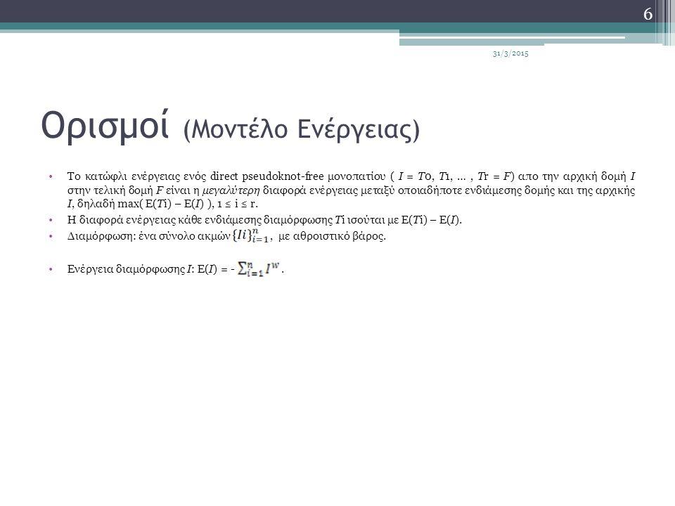 Ορισμοί (Μοντέλο Ενέργειας) Το κατώφλι ενέργειας ενός direct pseudoknot-free μονοπατίου ( I = T0, T1, …, Tr = F) απο την αρχική δομή I στην τελική δομή F είναι η μεγαλύτερη διαφορά ενέργειας μεταξύ οποιαδήποτε ενδιάμεσης δομής και της αρχικής I, δηλαδή max( E(Ti) – E(I) ), 1 ≤ i ≤ r.