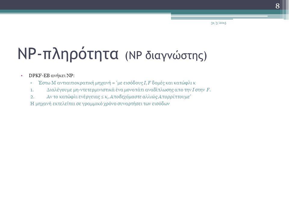 NP-πληρότητα (NP διαγνώστης) DPKF-EB ανήκει NP: ▫Έστω Μ αντιαιτιοκρατική μηχανή = 'με εισόδους I, F δομές και κατώφλι κ 1.Διαλέγουμε μη-ντετερμινιστικά ένα μονοπάτι αναδίπλωσης απο την I στην F.