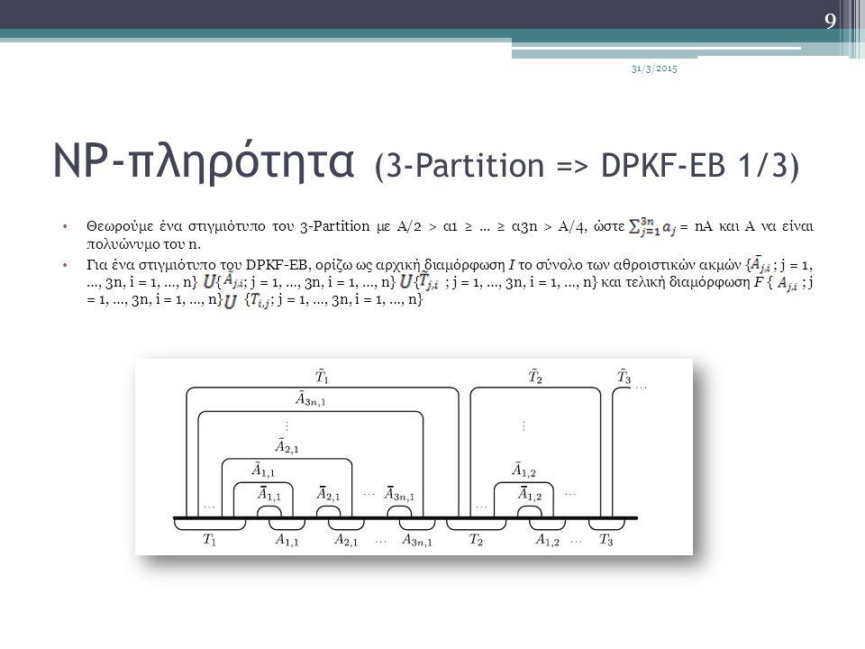 NP-πληρότητα (3-Partition => DPKF-EB 1/3) Θεωρούμε ένα στιγμιότυπο του 3-Partition με Α/2 > α1 ≥... ≥ α3n > Α/4, ώστε = nA και A να είναι πολυώνυμο το